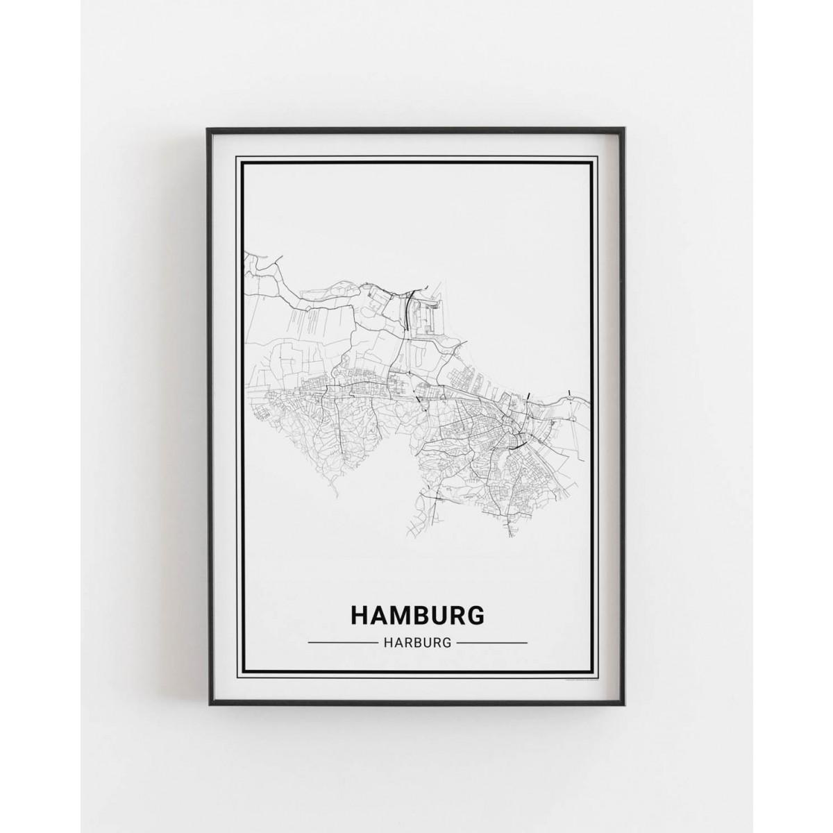 HAMBURG Harburg Poster Stadtplan