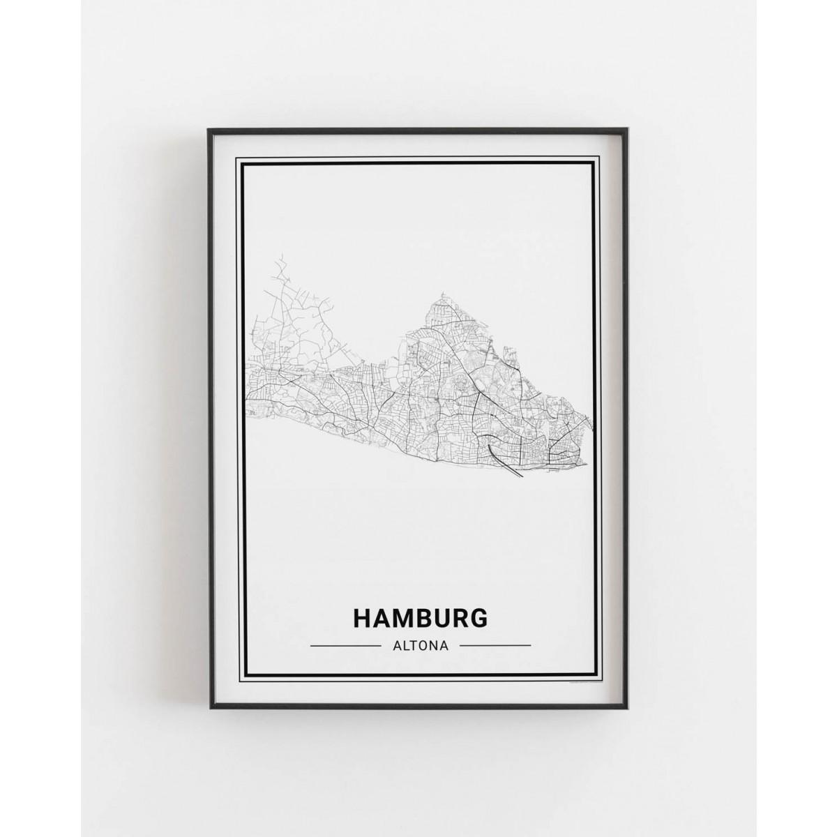 HAMBURG Altona Poster Stadtplan