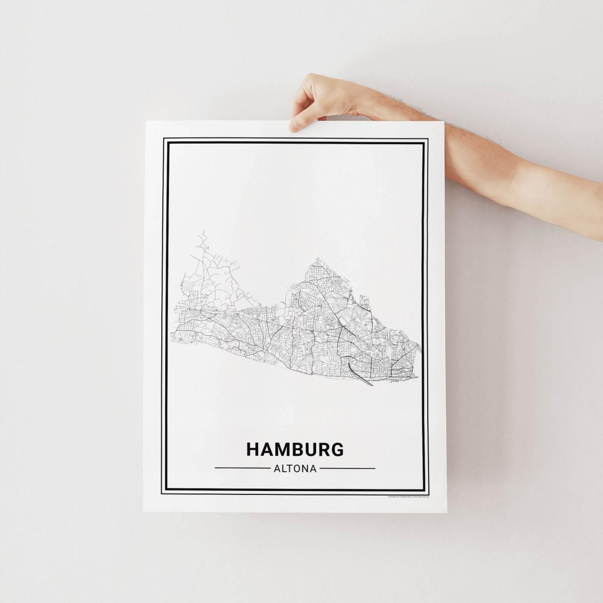 HAMBURG Altona Poster Stadtplan von Skanemarie