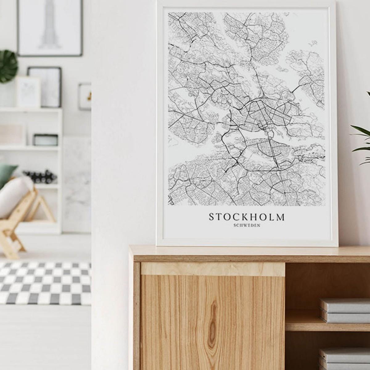 Stockholm Karte als hochwertiger Print - Posterdruck im skandinavischen Stil Skanemarie