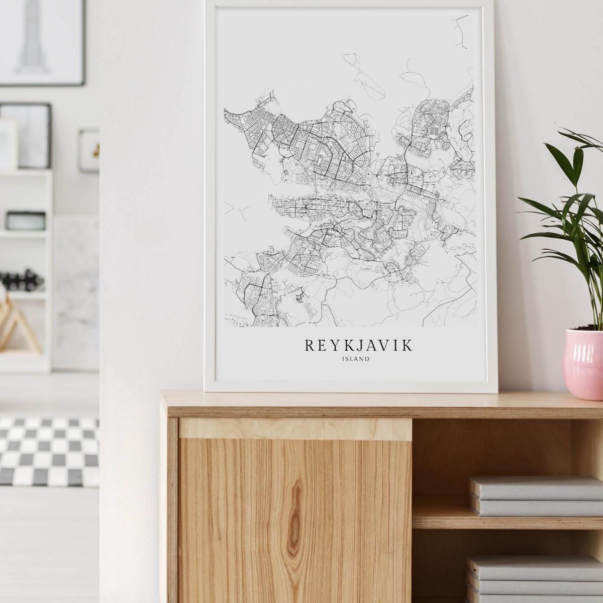 REYKJAVÍK als hochwertiges Poster im skandinavischen Stil von Skanemarie +++ Geschenkidee
