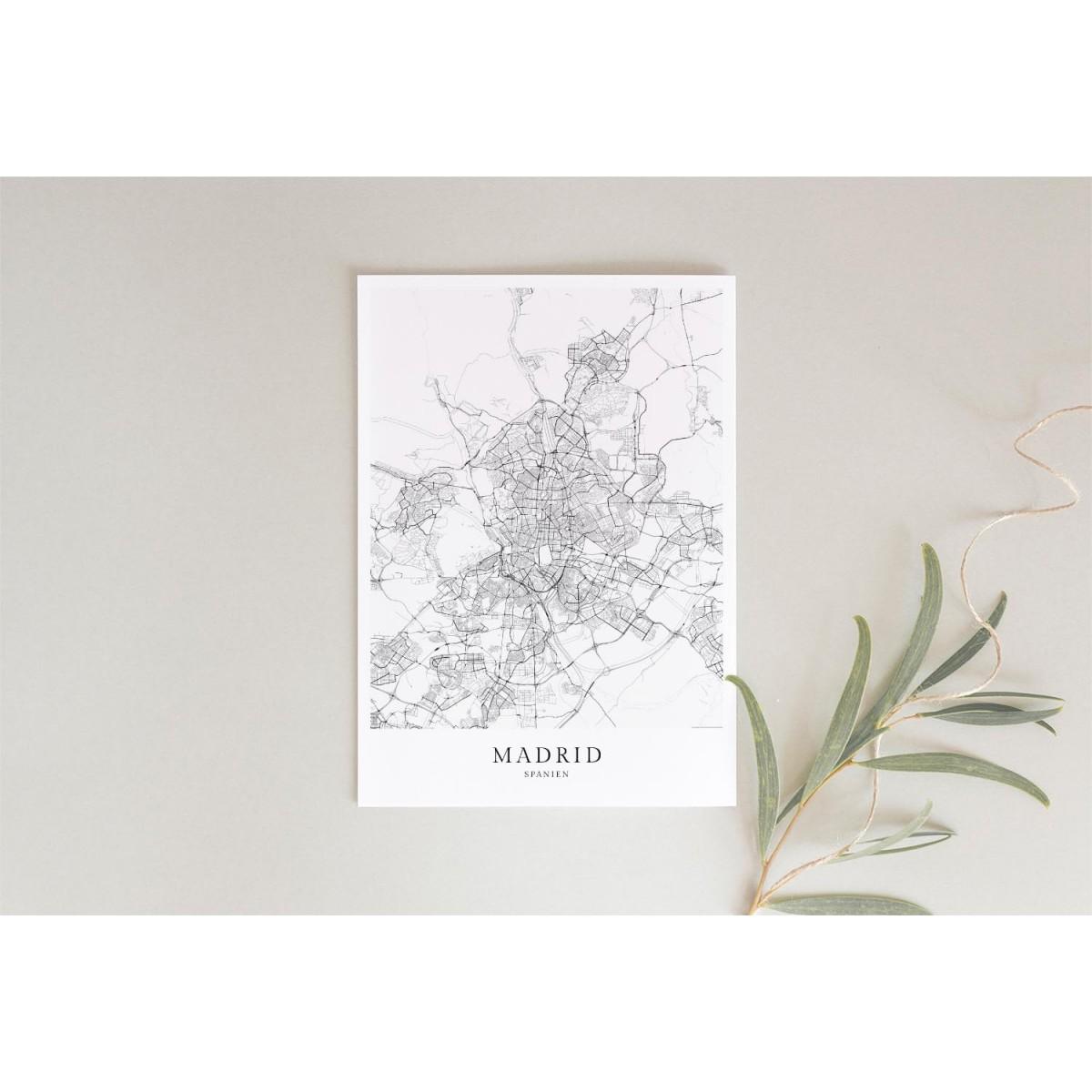Karte MADRID als Print im skandinavischen Stil von Skanemarie +++ Geschenkidee zu Weihnachten
