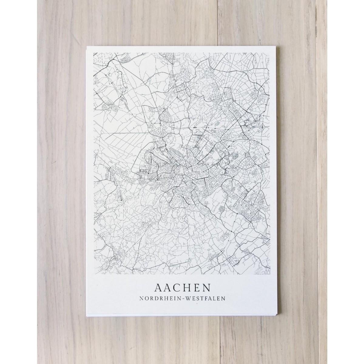 Karte AACHEN als Print im skandinavischen Stil von Skanemarie +++ Geschenkidee zu Weihnachten