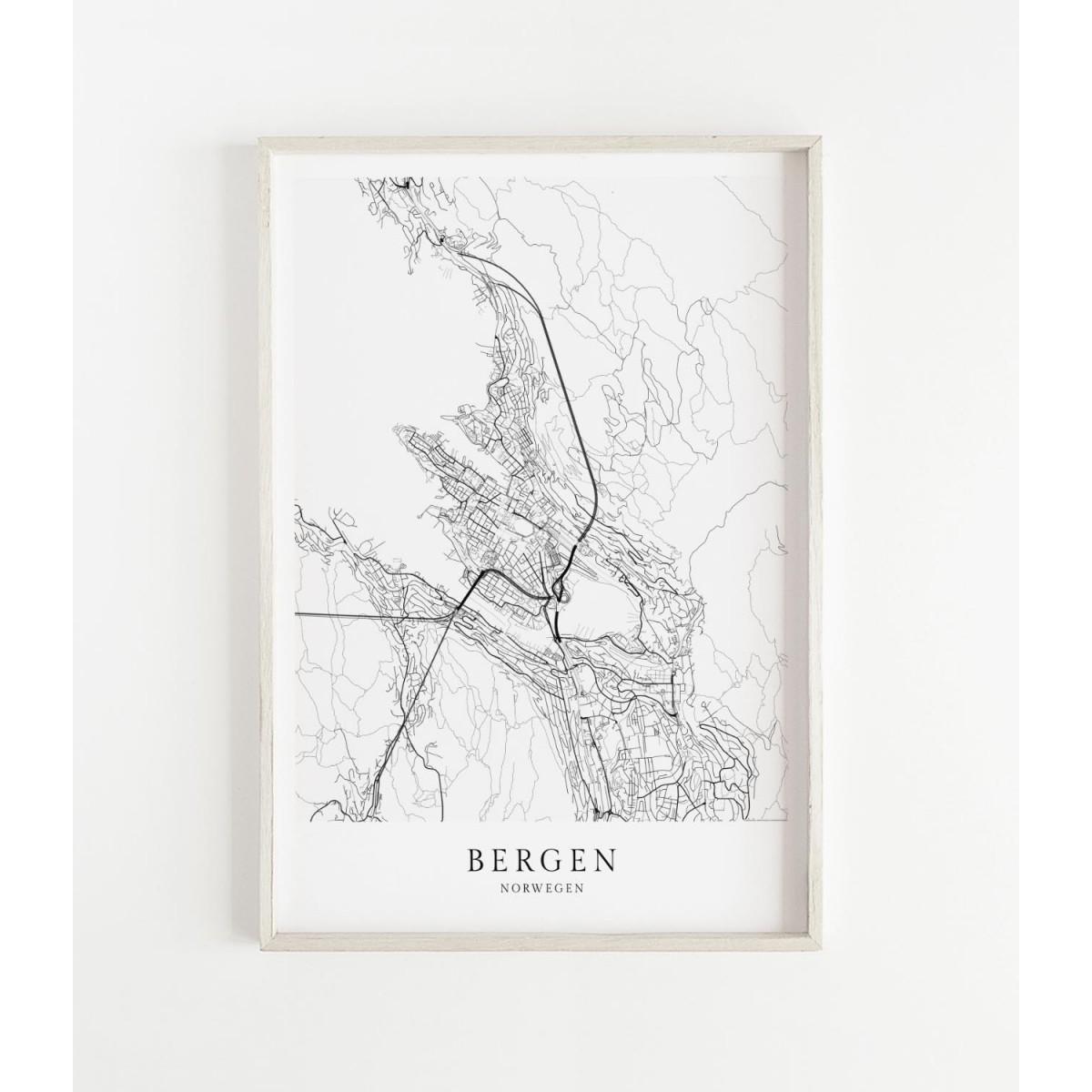 Karte BERGEN und Norwegen als Print im skandinavischen Stil