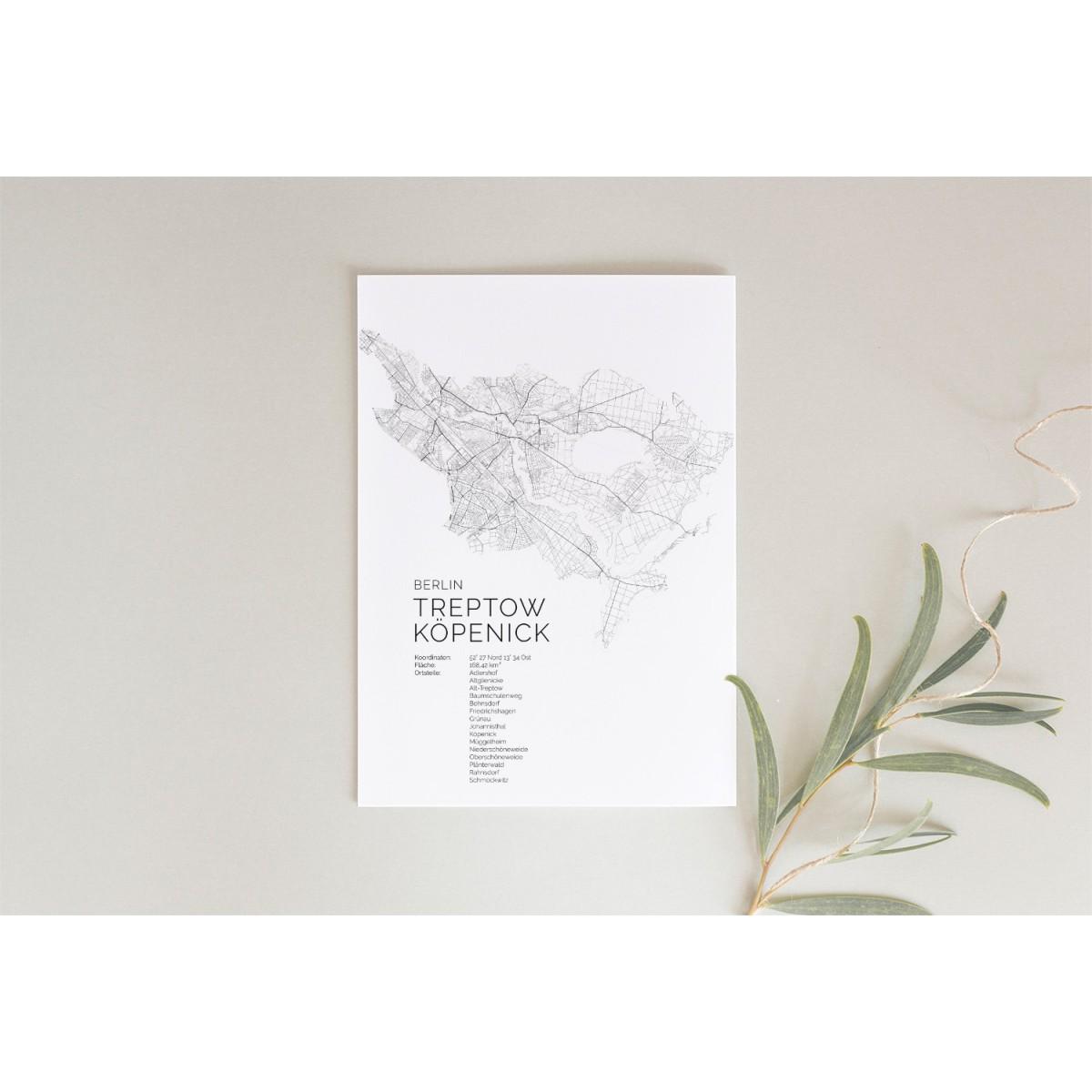 Karte BERLIN Treptow Köpenick als Print im skandinavischen Stil von Skanemarie +++ Geschenkidee zu Weihnachten