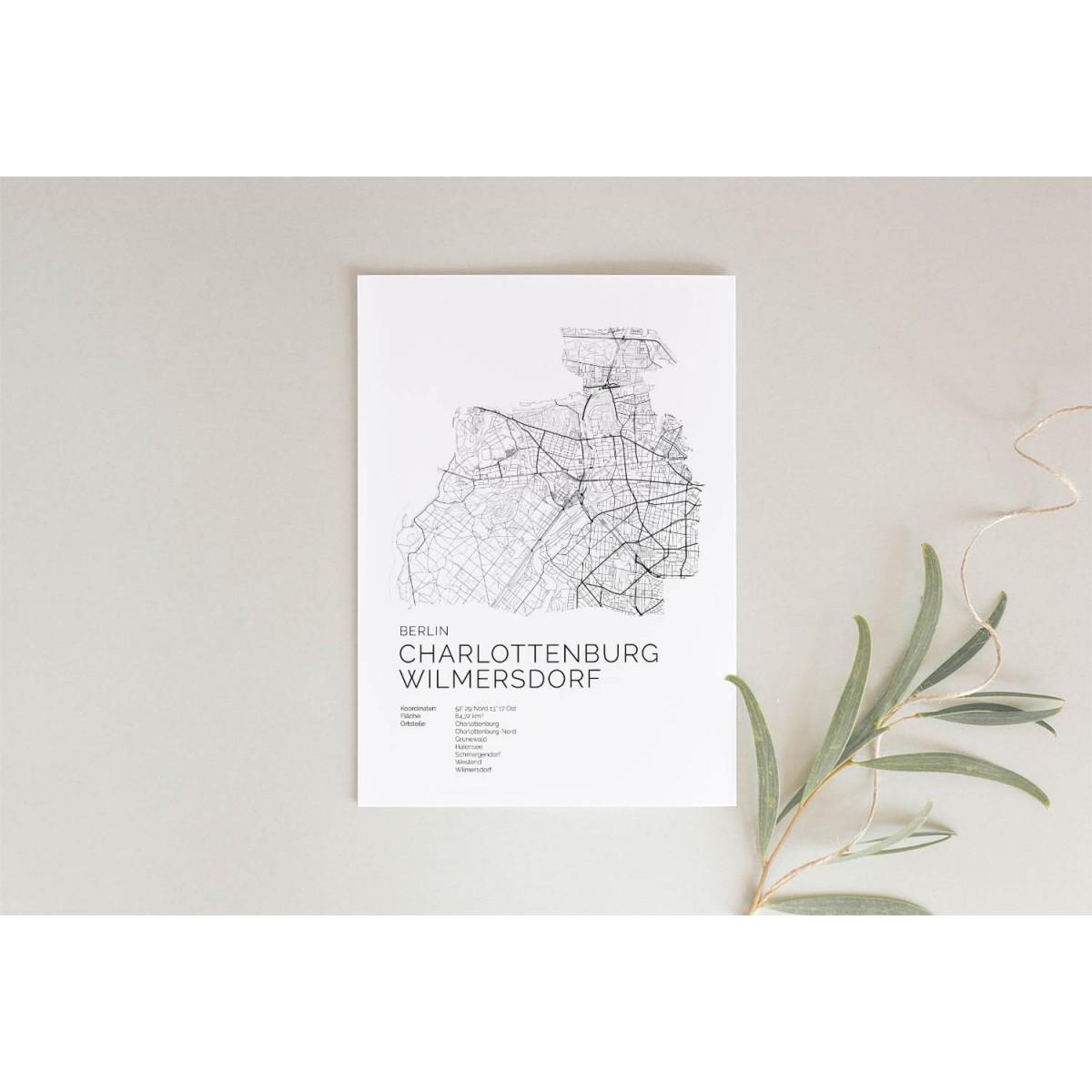 Karte BERLIN Charlottenburg Wilmersdorf als Poster im skandinavischen Stil von Skanemarie +++ Geschenkidee zu Weihnachten