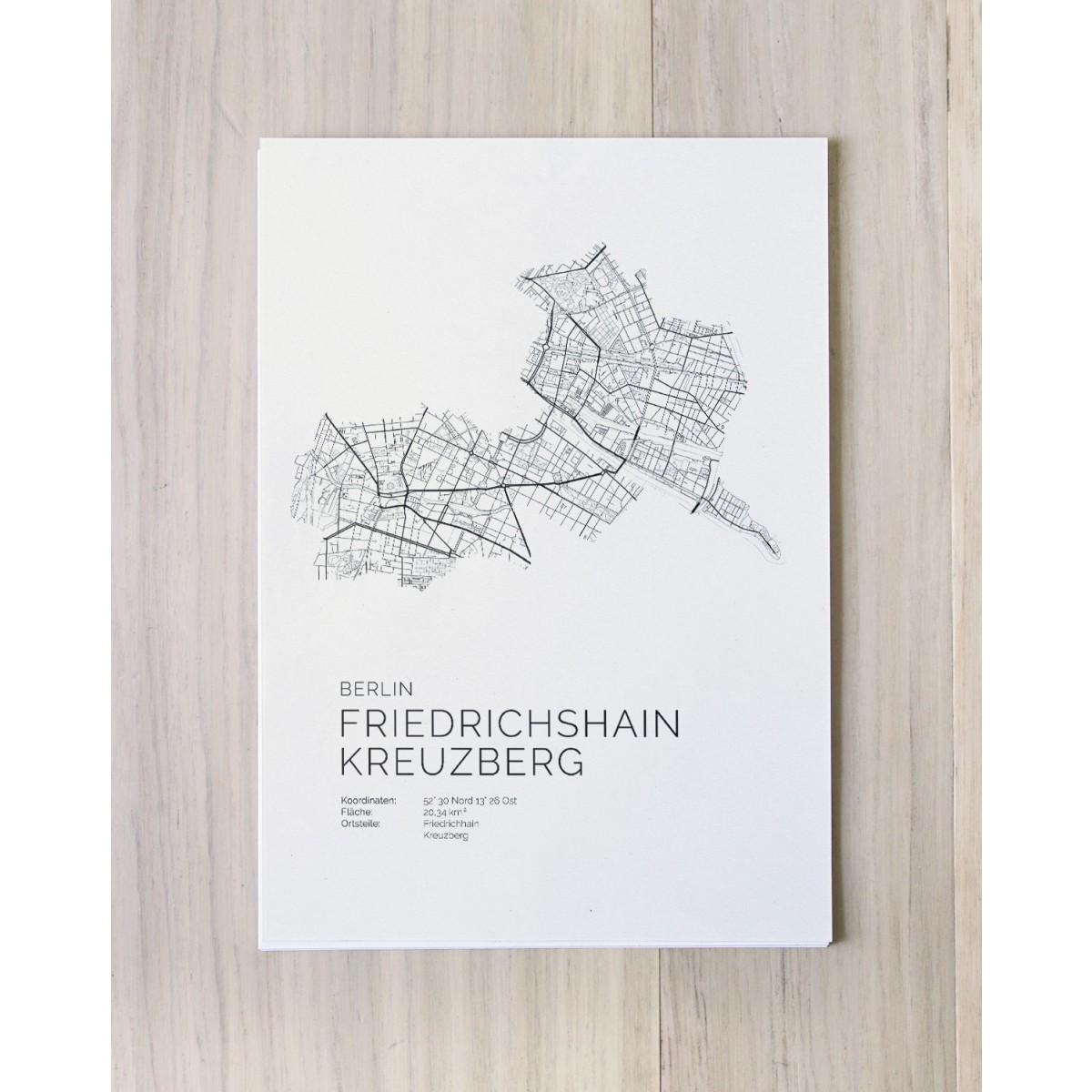 Karte BERLIN Friedrichshain Kreuzberg als Print im skandinavischen Stil von Skanemarie