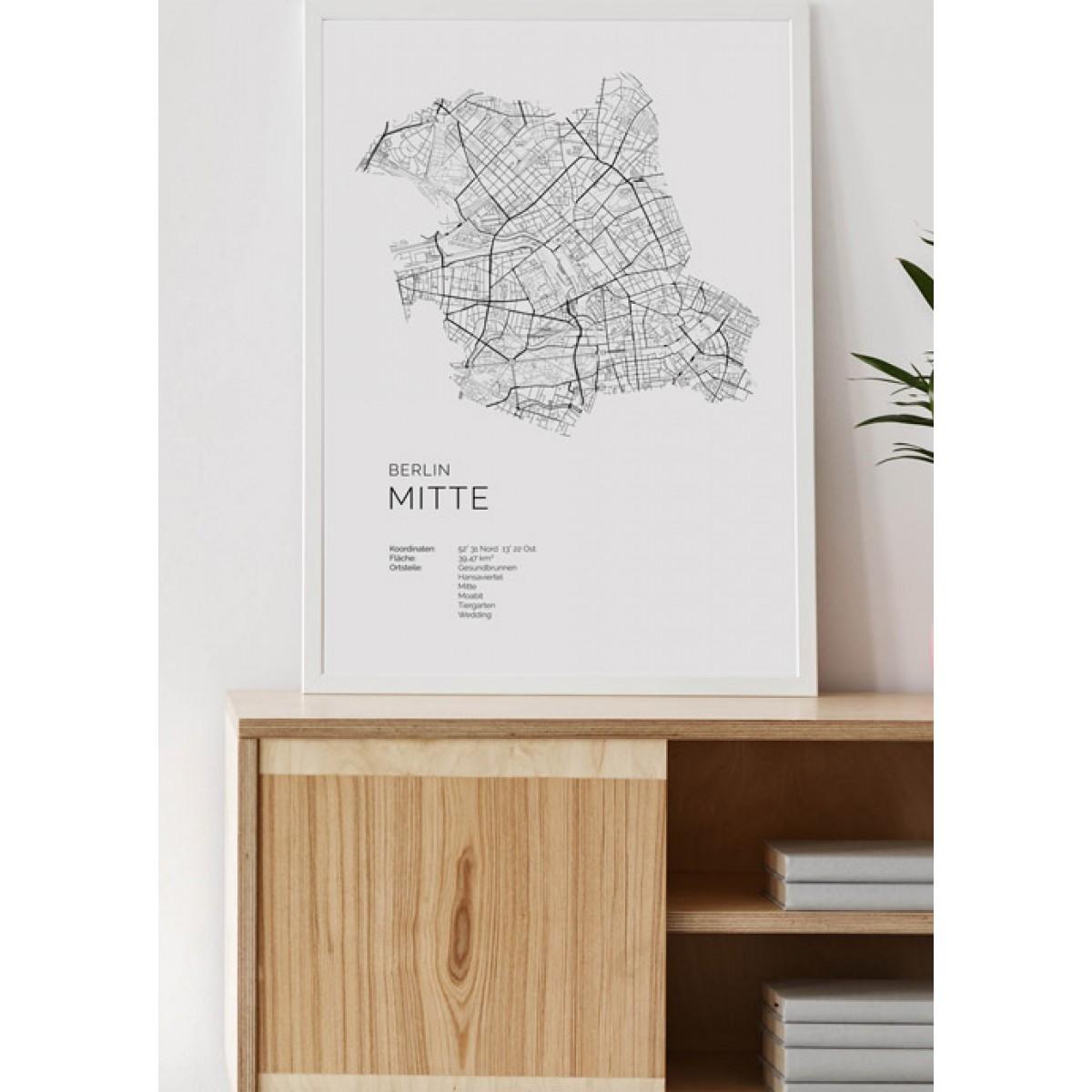 Karte BERLIN MITTE als Print von Skanemarie