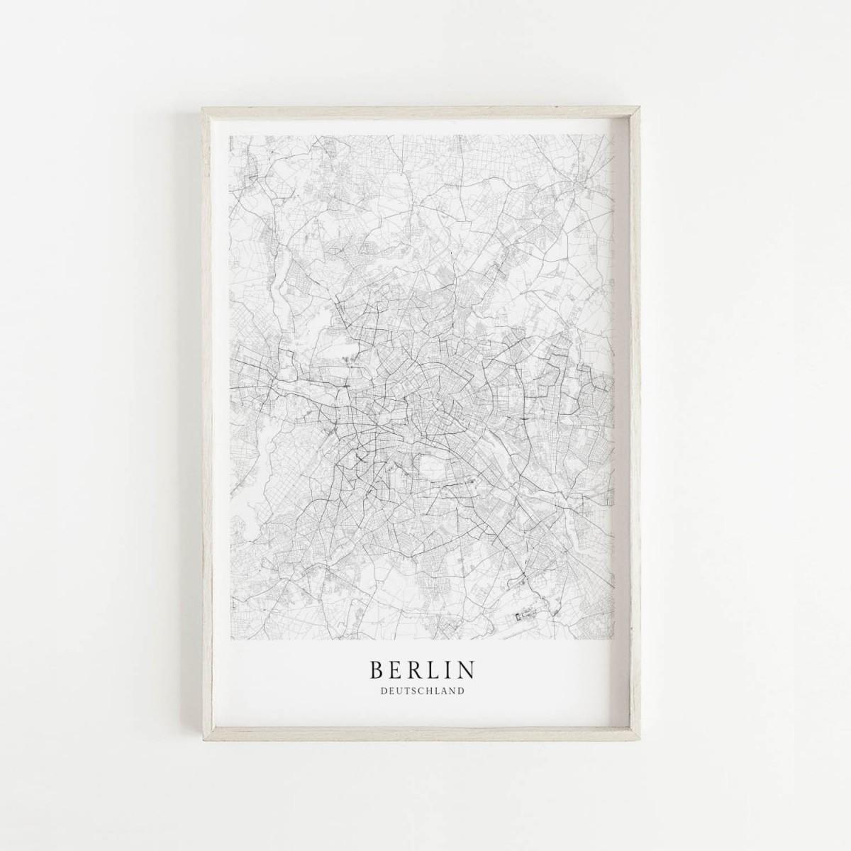 Berlin Karte als hochwertiger Print - Posterdruck im skandinavischen Stil Skanemarie