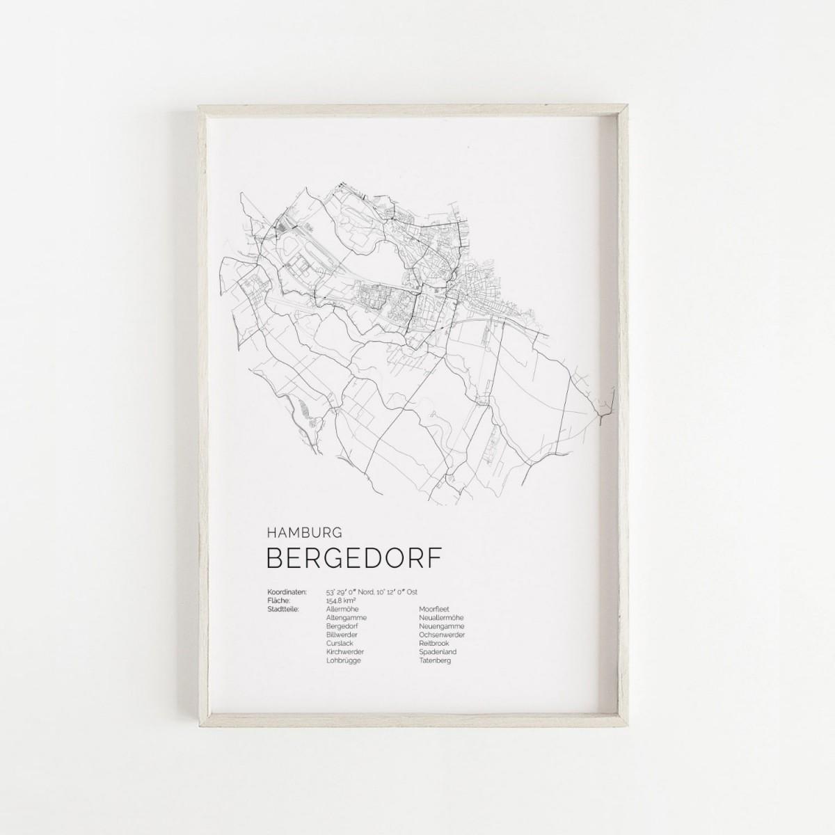 Hamburg Bergedorf Karte als hochwertiger Print - Posterdruck im skandinavischen Stil von Skanemarie