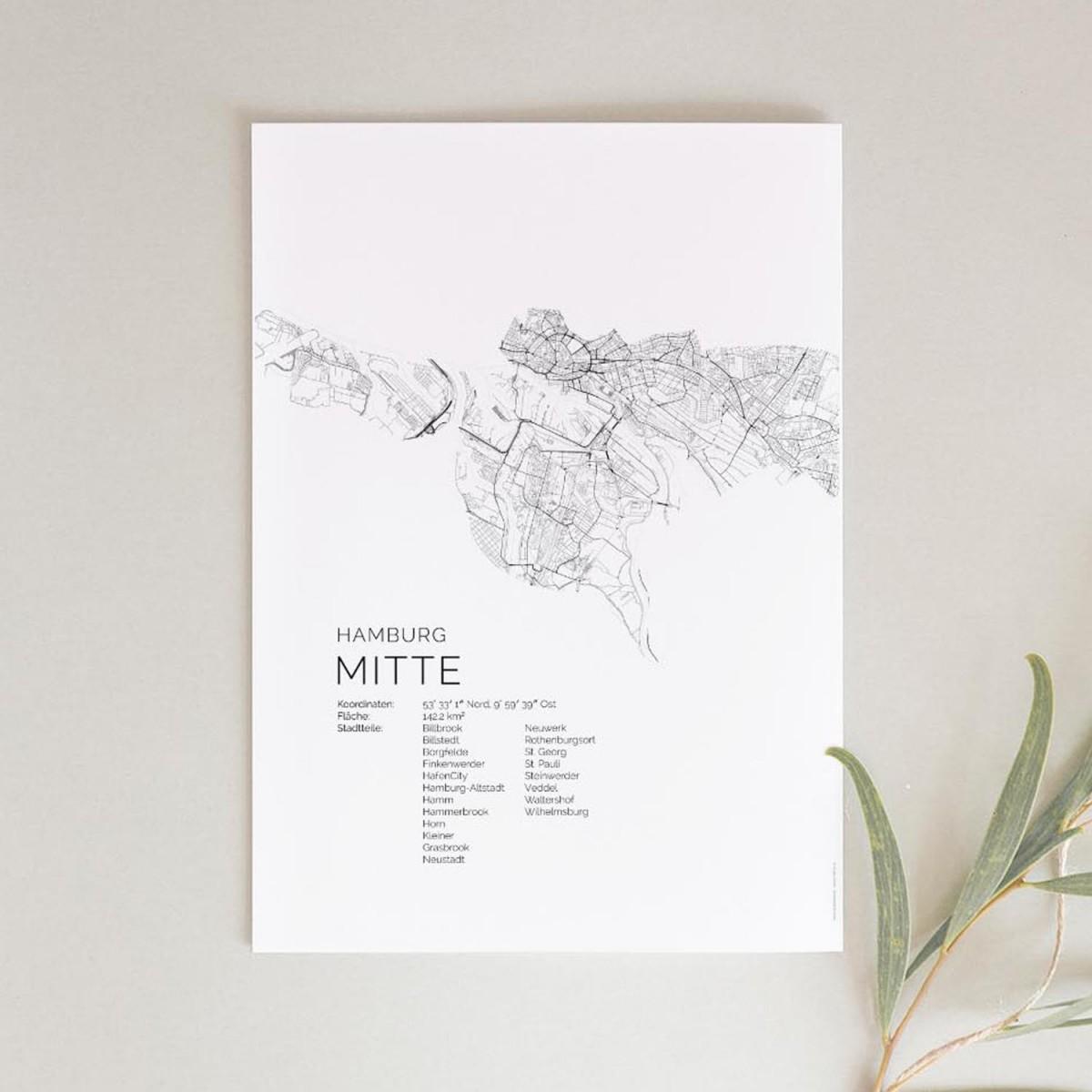 Hamburg Mitte Karte als hochwertiger Print - Posterdruck im skandinavischen Stil von Skanemarie