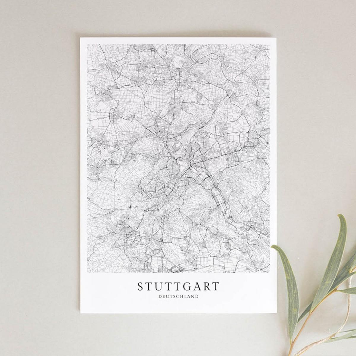 Stuttgart als hochwertiges Poster im skandinavischen Stil von Skanemarie