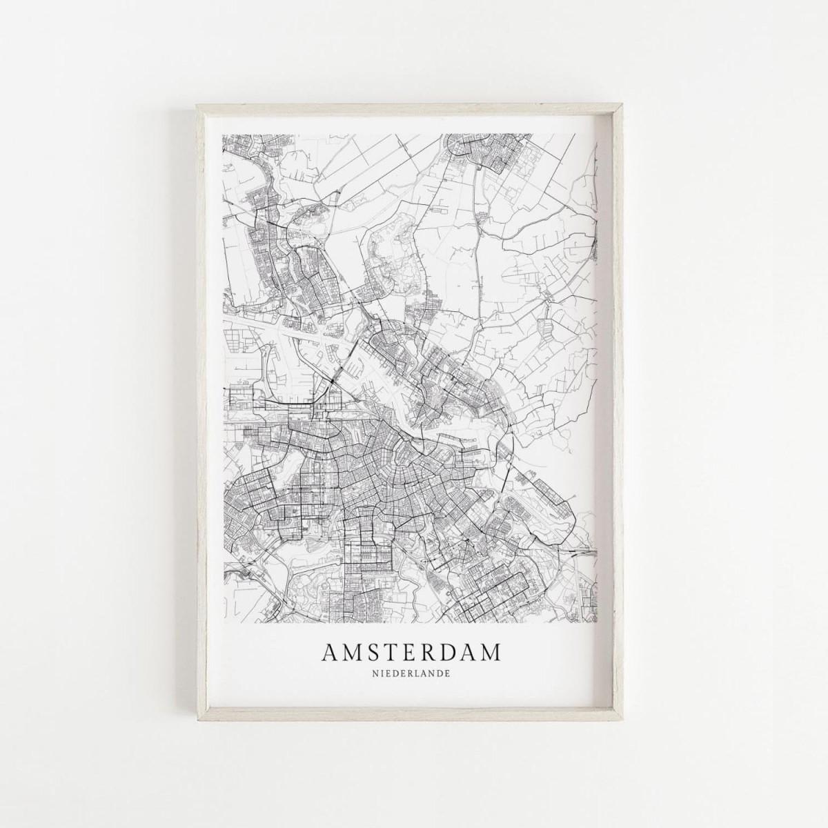 Amsterdam Karte als hochwertiger Print - Posterdruck im skandinavischen Stil Skanemarie