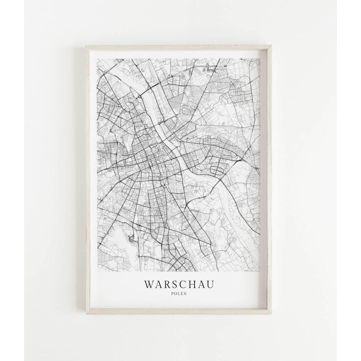 WARSCHAU als hochwertiges Poster im skandinavischen Stil von Skanemarie