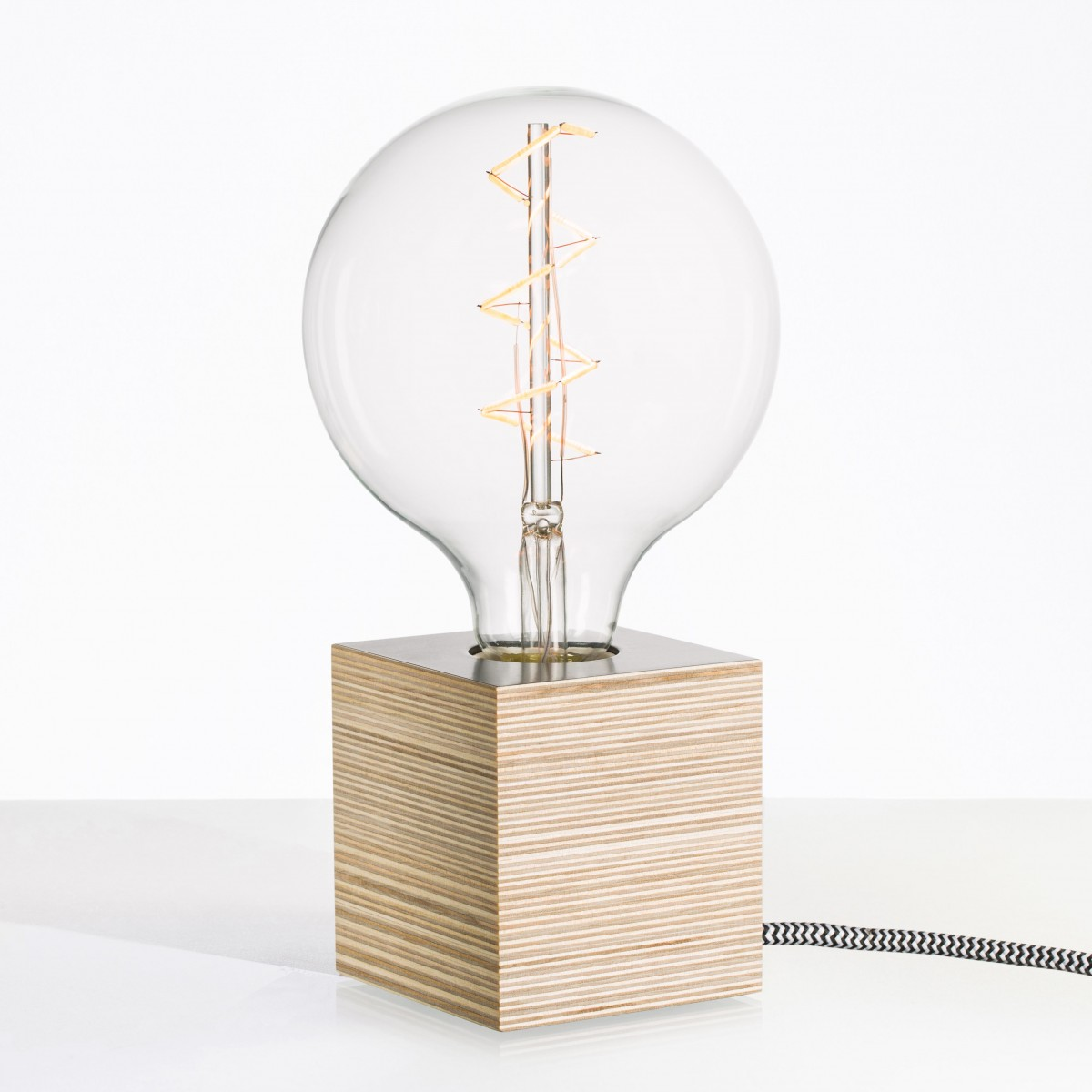 """Lichtliebe Tischleuchte """"Rekoo"""" in steingrau und schwarz-weiß inkl. Edison Spiral LED im Retro Design mit nur 1,8 Watt"""