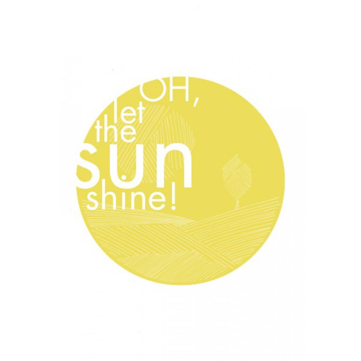 Graue Wintertage, frieren in der Kälte! Brrrr....  OH, let the sun shine! Der Druck, der den Frühling, Vogelgezwitscher, Blüten und frisches Grün, Sonne auf der Nase und gute Laune herbeisehnt.  Zwei Bildebenen: von Weitem sieht man in sonnigem Gelb das t