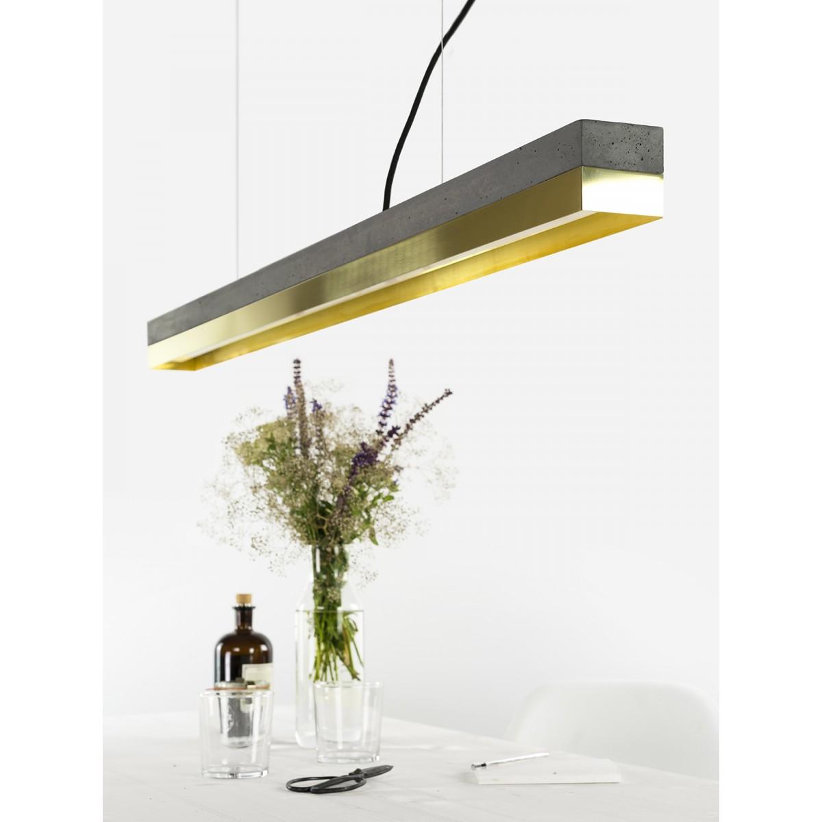 GANTlights - Beton Hängeleuchte [C1]dark/brass Lampe Messing minimalistisch