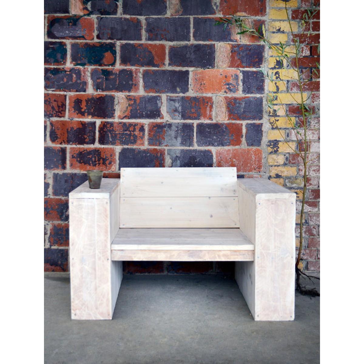 FraaiBerlin Sessel aus Bauholz, White Wash, Minke