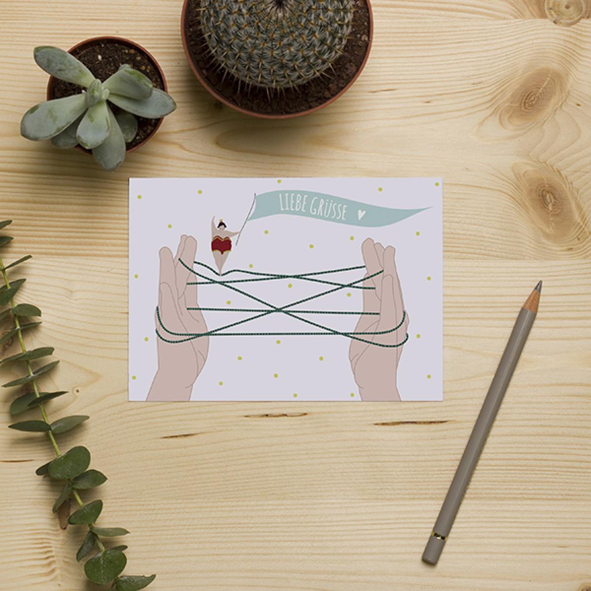 "HEJ Marlen Postkarte ""LIEBE GRÜSSE"""