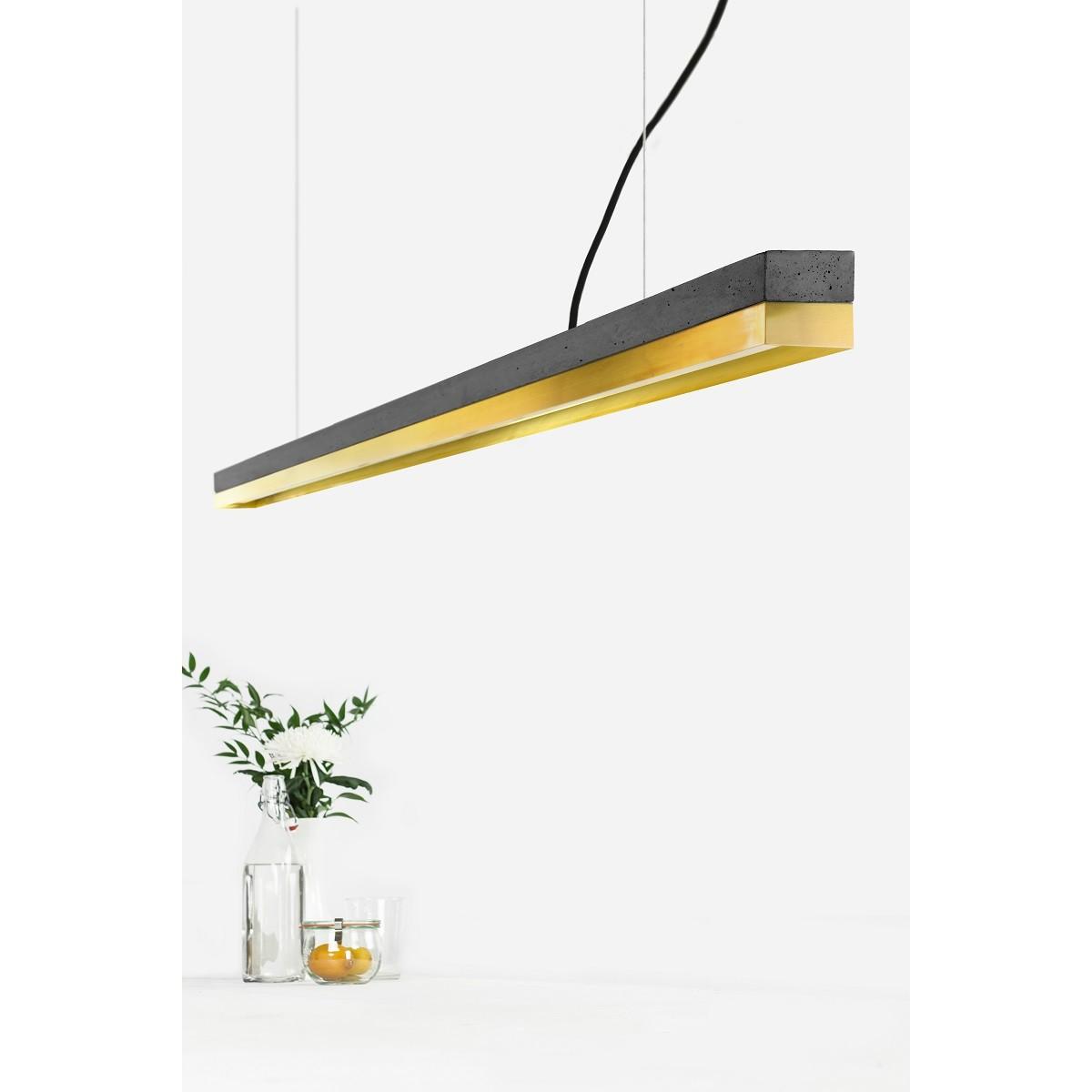 GANTlights - Beton Hängeleuchte [C3]dark/brass Lampe Messing minimalistisch