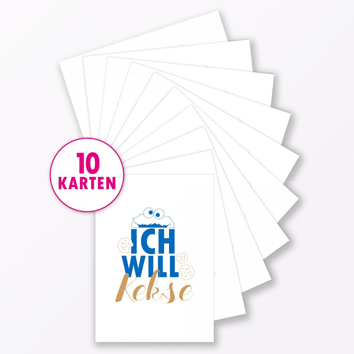 """TYPOP Postkarte """"Ich will Kekse"""" DIN A6"""