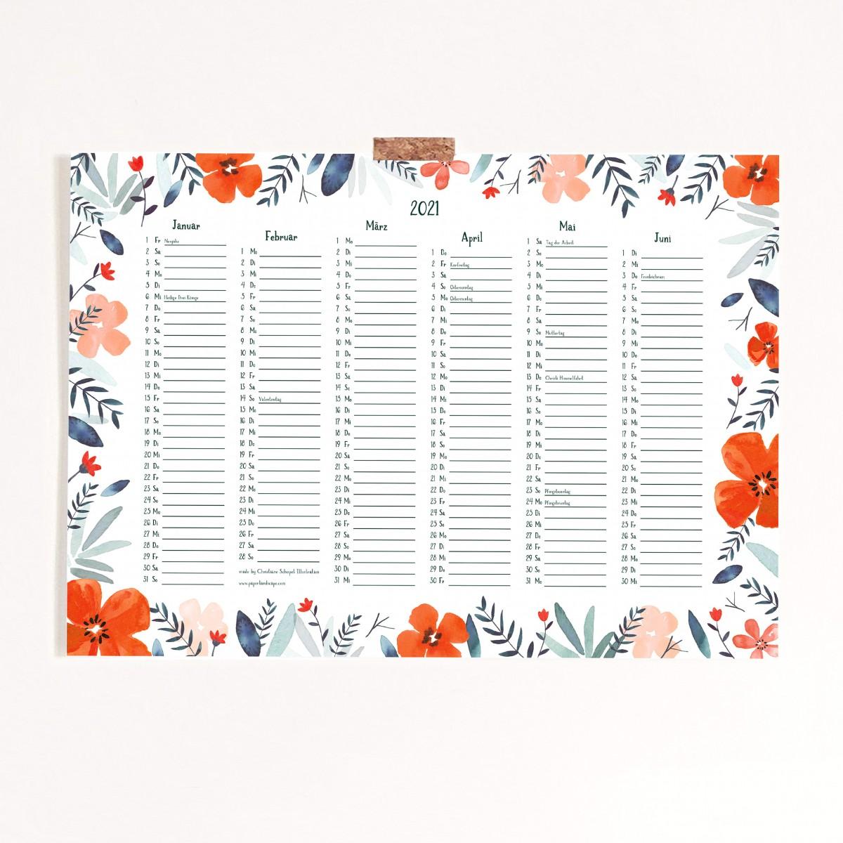 Paperlandscape | Kalender 2021 | Posterkalender A3 | Pflanzen Kalender | botanisch | Wildblumen