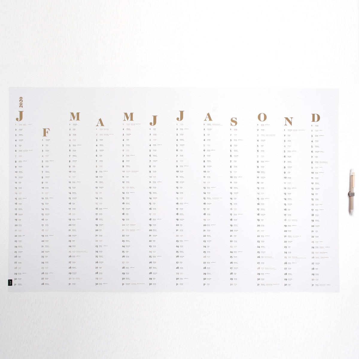 tyyp Wandkalender 2020