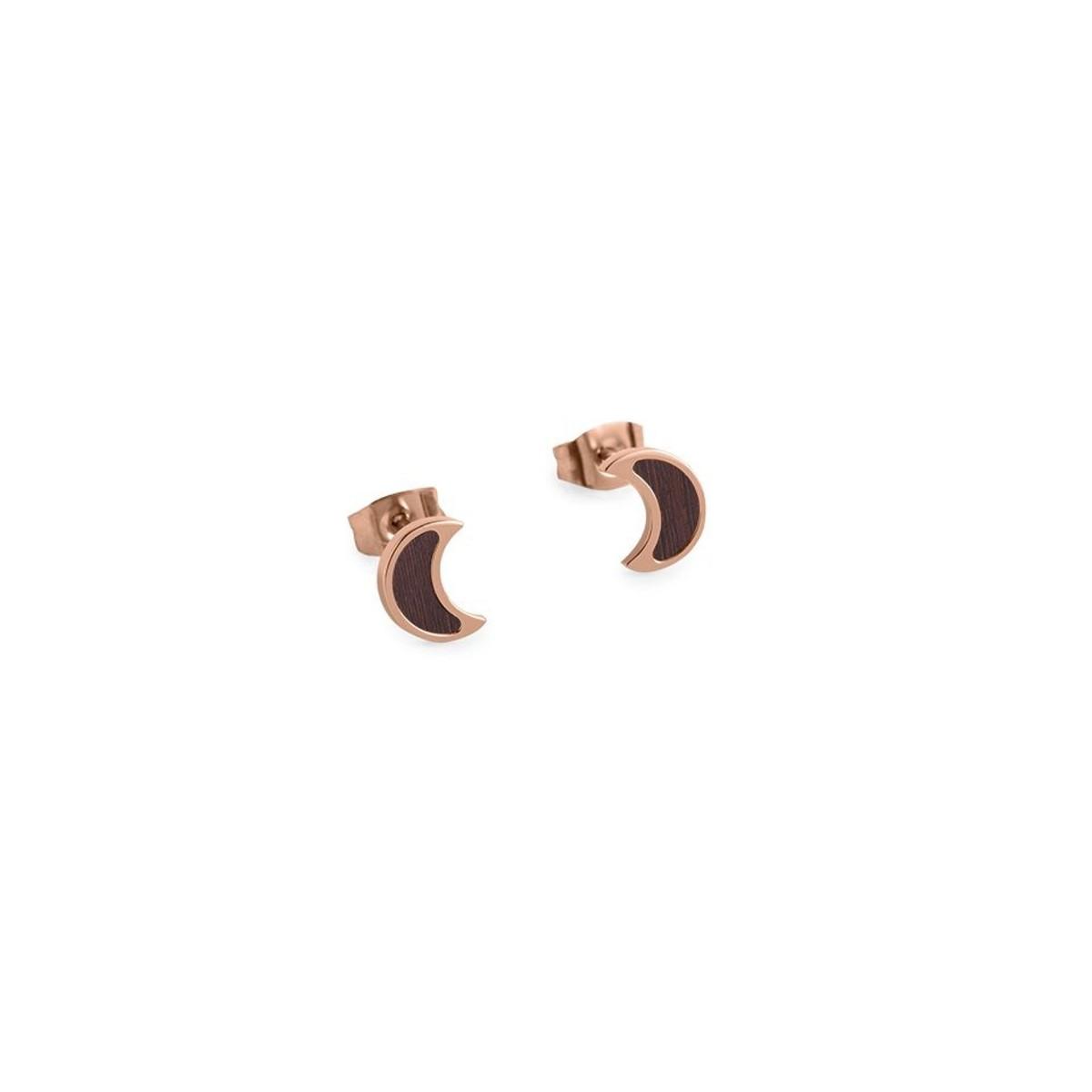 "BeWooden Ohrringe mit Holzdetail - Ohrstecker - Motiv Halbmond - ""Rose Earrings Halfmoon"""