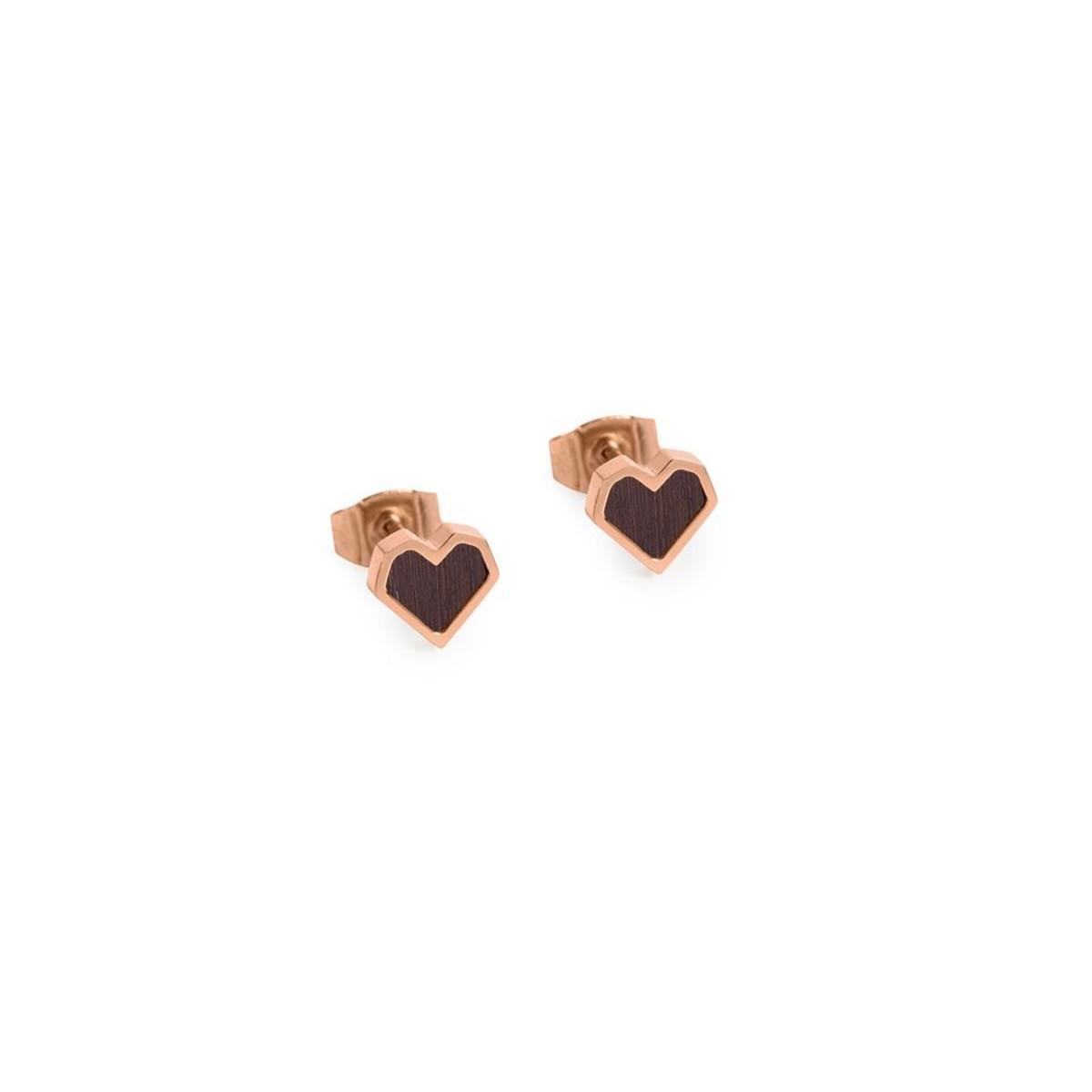 """BeWooden Ohrringe mit Holzdetail - Ohrstecker - Motiv Herz - """"Rose Earrings Heart"""""""