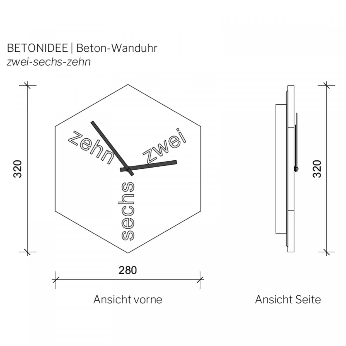 betonIDEE zehn-zwei-sechs | lautlose Wanduhr aus Beton mit Holz-Zeigern