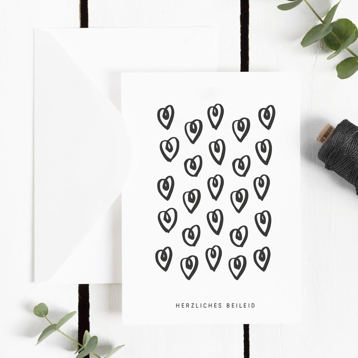 Kleine Papeterie // Herzliches Beileid // Trauerkarte
