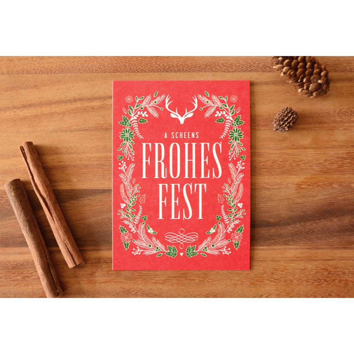 Bayerische Weihnachtsgrüße FROHES FEST // Inkl. Naturpapier-Kuvert