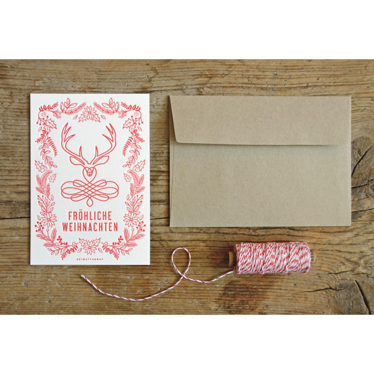 Fröhliche Weihnachten Letterpress-Karte // Inkl. Naturpapier-Kuvert