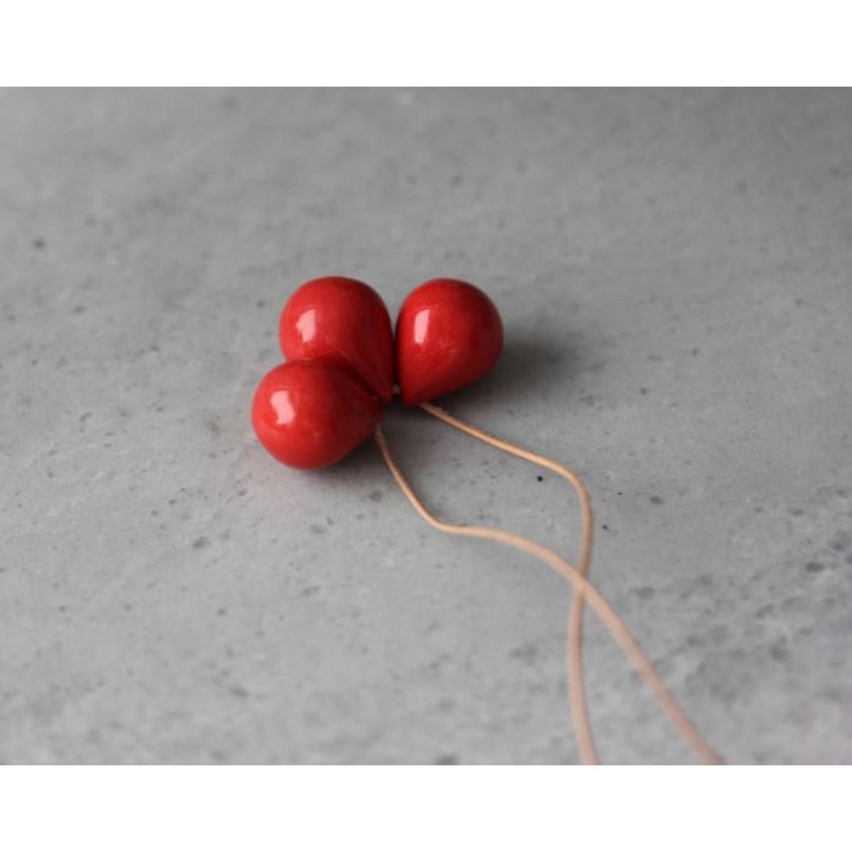 "Skelini - Porzellantropfenkette, ""drei Tropfen"", Rot"