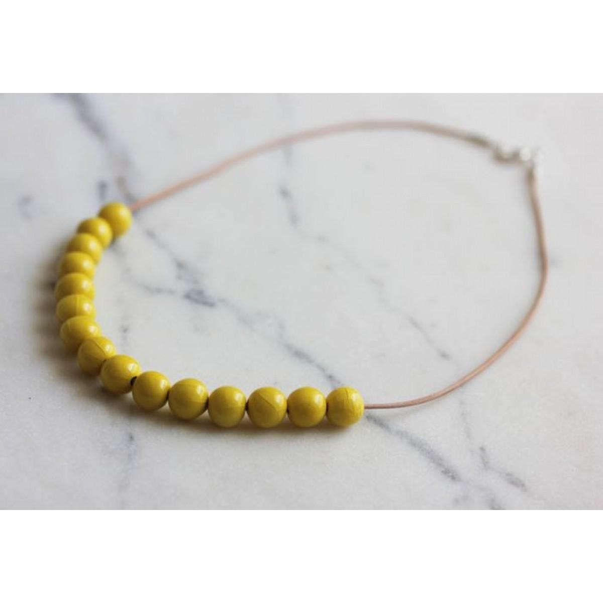 Skelini - Kurze Porzellanperlenkette, gelb