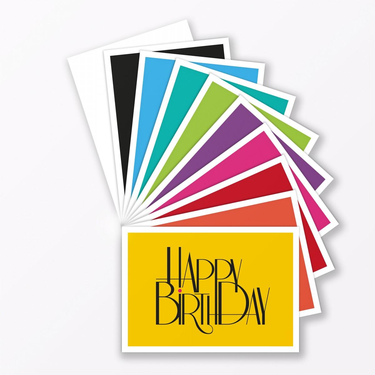 """TYPOP 10-teiliges Set Design GEBURTSTAGSKARTE """"Happy Birthday"""" DIN ..."""