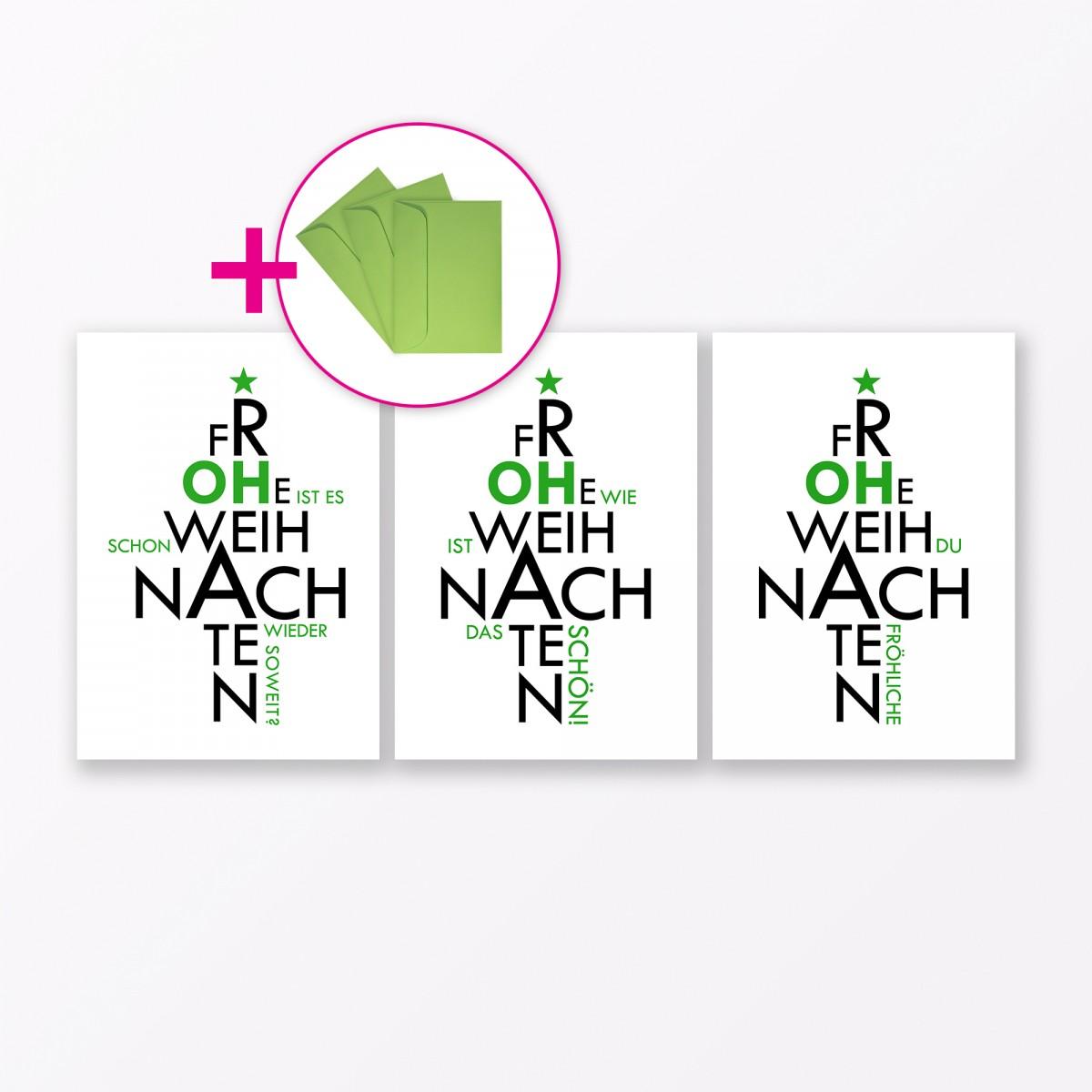 TYPOP 6-teiliges Set Design WEIHNACHTSKARTE Oh… A6 inkl. Umschläge