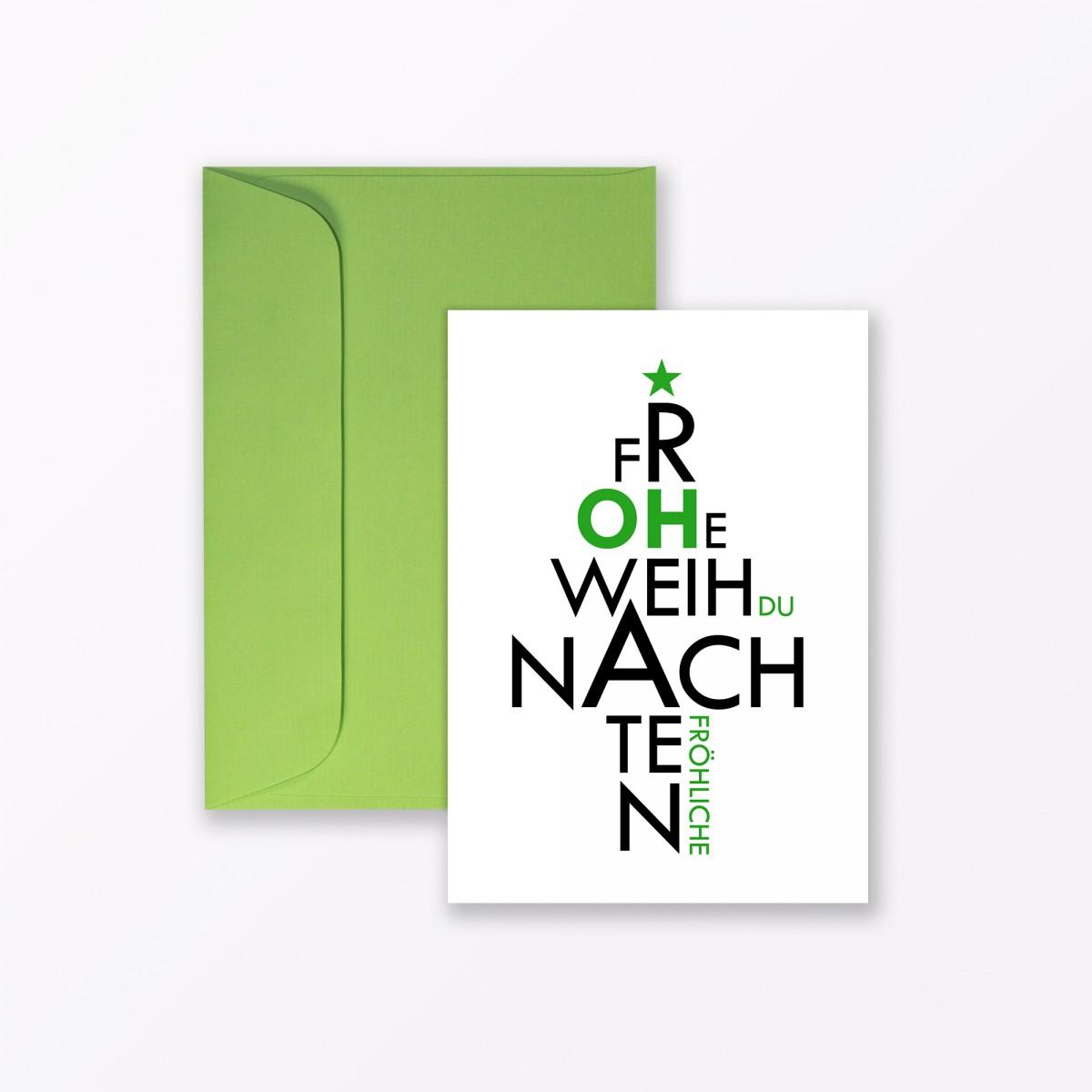 """TYPOP 20-teiliges Set Design WEIHNACHTSKARTE """"Oh du Fröhliche"""" A6 inkl. Umschläge"""