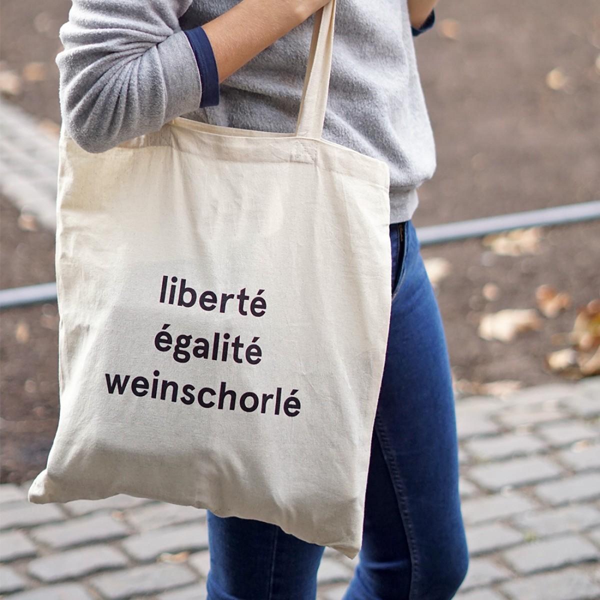 """StijlMarkt Baumwolltasche """"liberté égalité weinschorlé"""""""