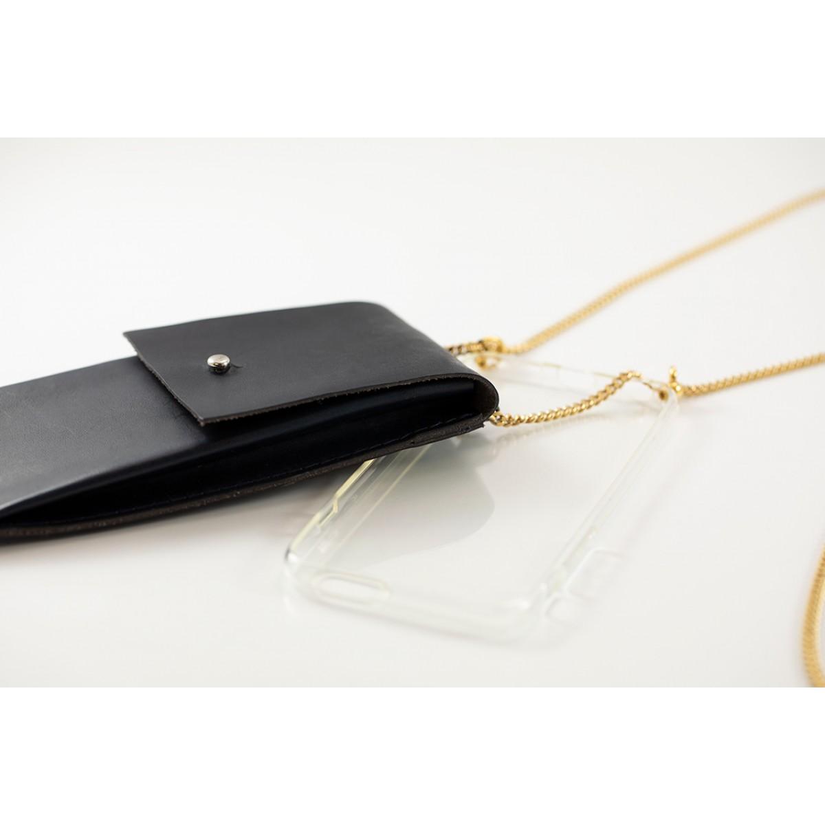 Lapàporter – iPhone Handykette aus Metall mit Lederriemen und abnehmbarer Tasche, dunkelblau/gold