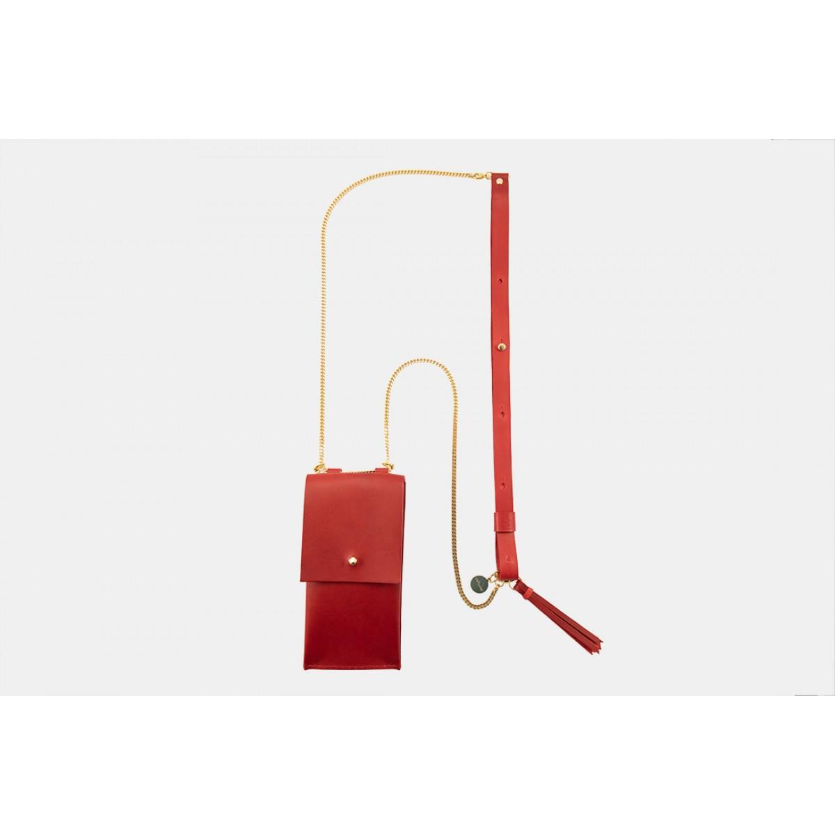 Lapàporter – iPhone Handykette aus Metall mit Lederriemen und abnehmbarer Tasche, rot/gold