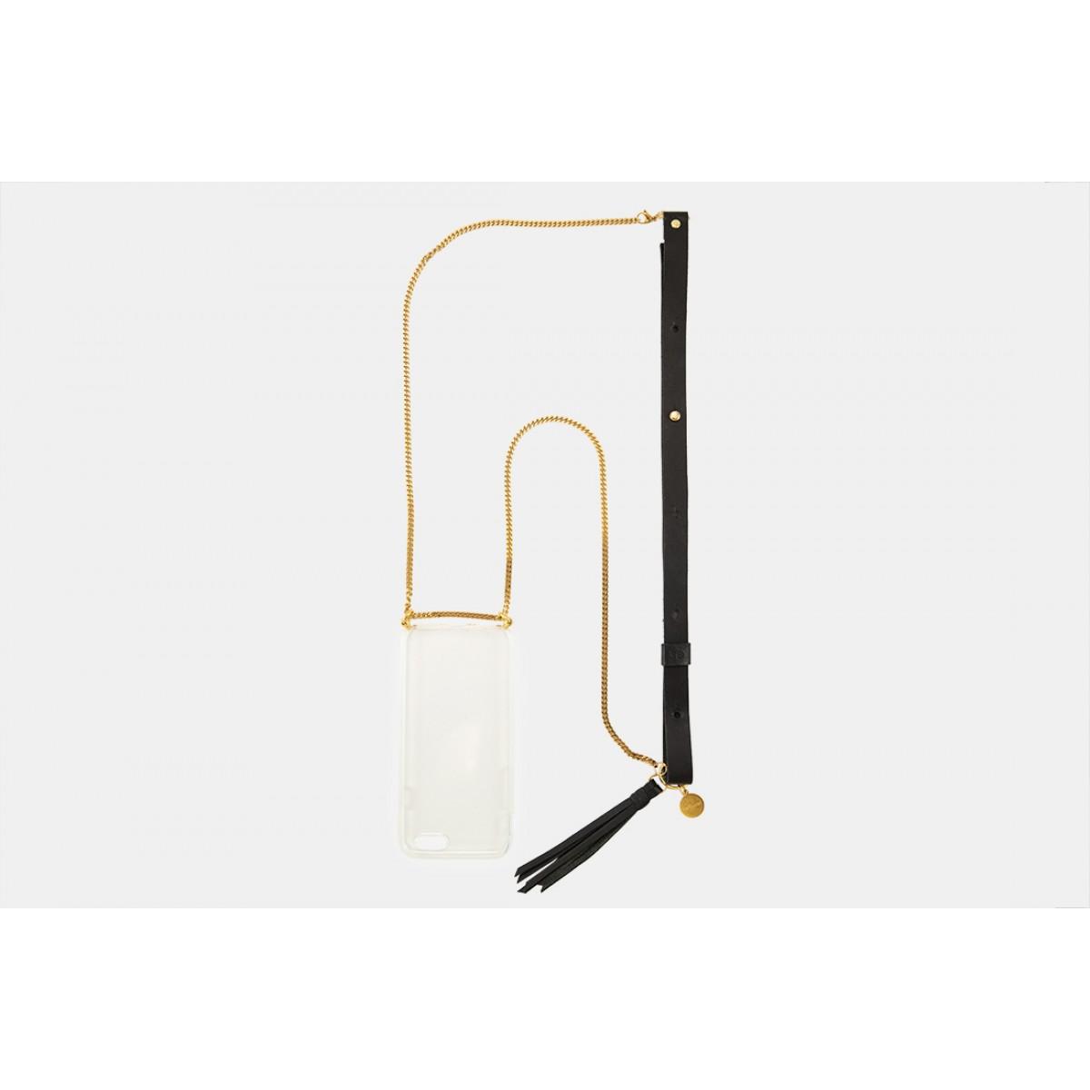 Lapàporter – iPhone Handykette aus Metall mit Lederriemen, schwarz/gold