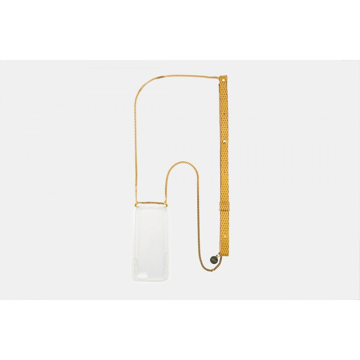 Lapàporter – iPhone Handykette aus Metall mit Lederriemen, senfgelb/gold