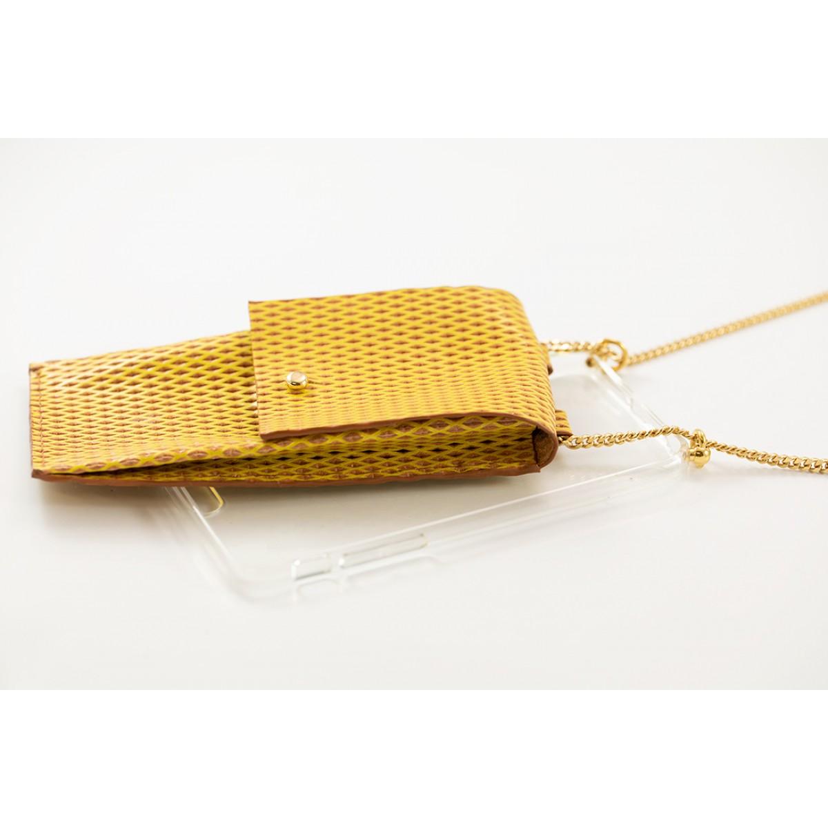 Handykette aus Metall mit Lederriemen und abnehmbarer Tasche, senfgelb/gold