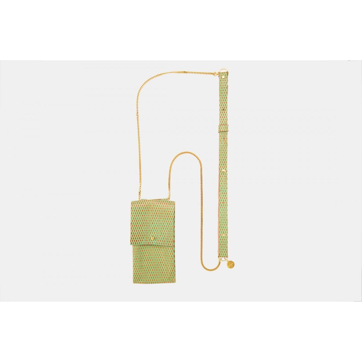 Lapàporter – iPhone Handykette aus Metall mit Lederriemen und abnehmbarer Tasche, mint/gold