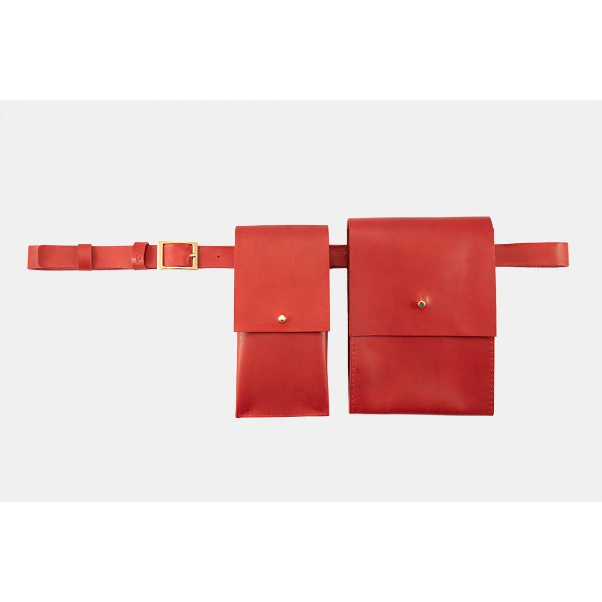 Lapàporter – Leder Gürteltasche 3 in 1, Rot