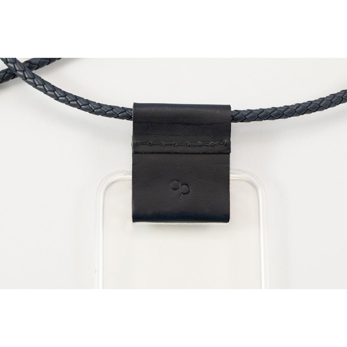 Handykette mit geflochtenem Lederband – Minimal, dunkelblau