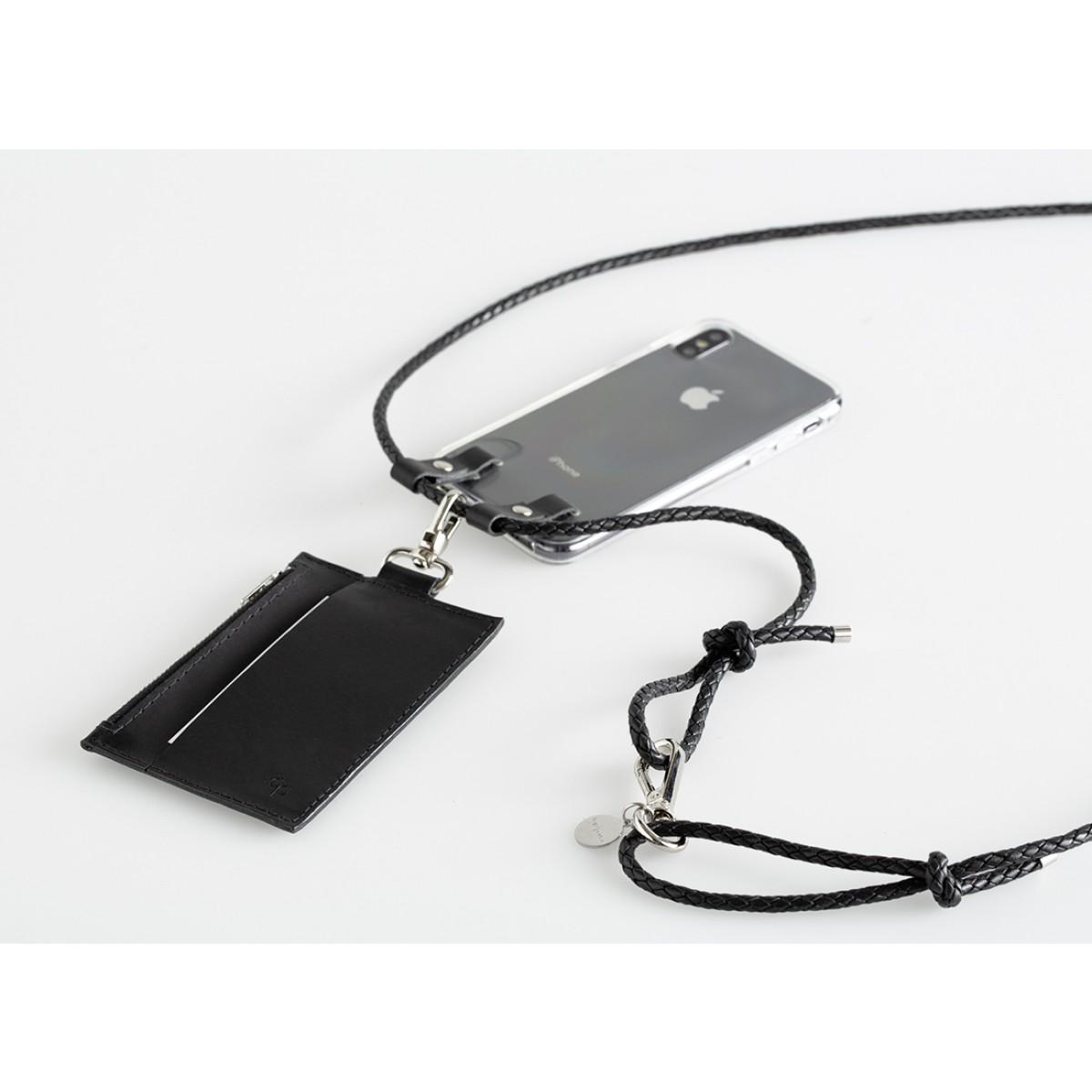 Mini-Lederportemonnaie mit Karabiner, schwarz
