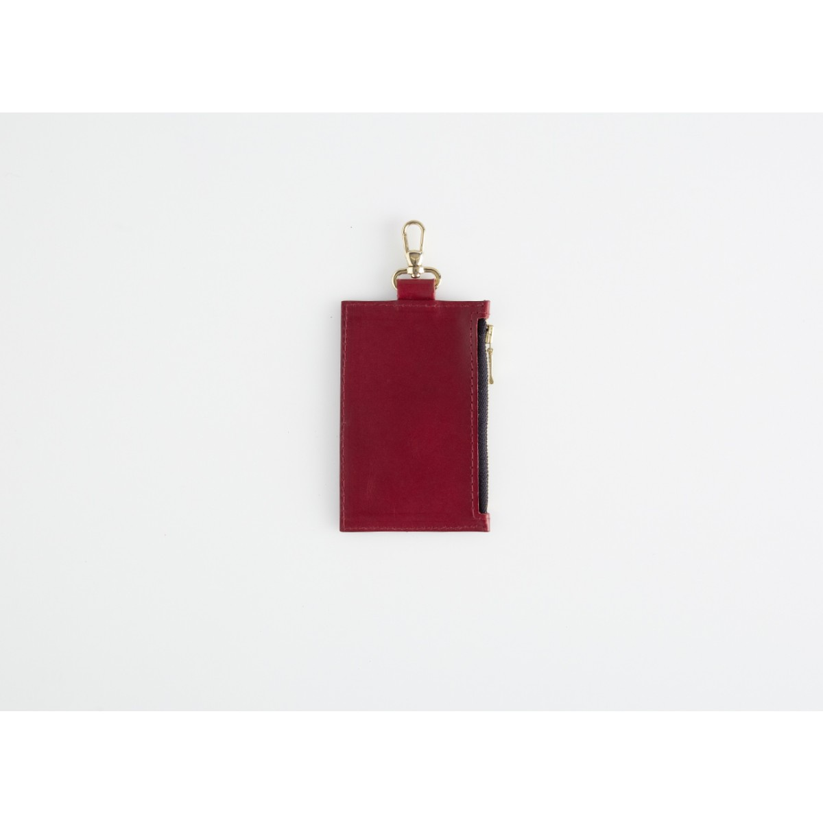 Mini-Lederportemonnaie mit Karabiner, rot