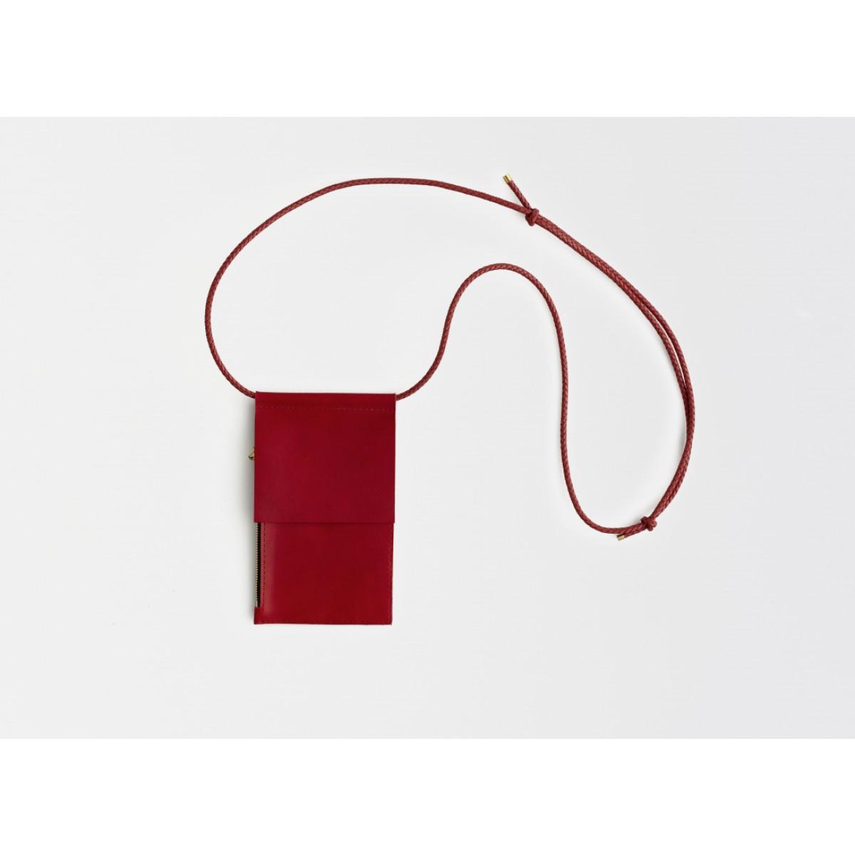 Lapàporter – Leder Handytasche zum umhängen / Brustbeutel, rot